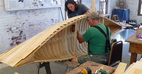 boat making wood and canvas canoe construction