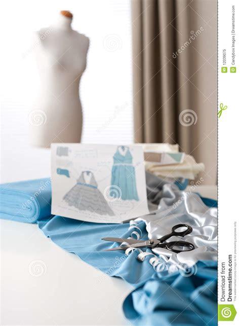 dress design equipment fashion designer studio with mannequin royalty free stock