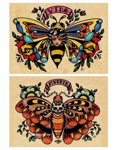 tattoo old school artist old school tattoo art flash bee butterfly skull moth