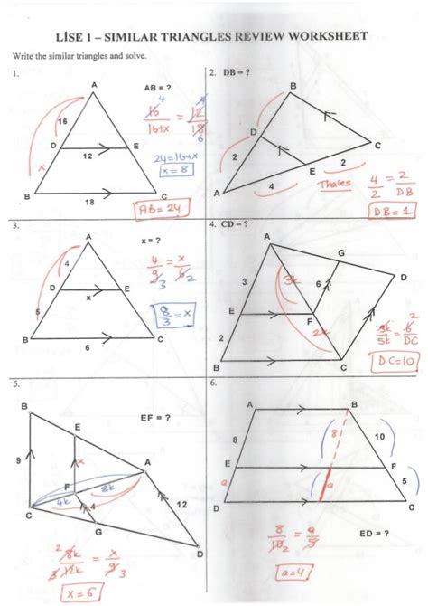 Similar Triangles Worksheet Answers by Similar Triangle Review Worksheet Answer Key