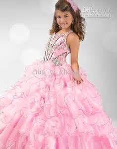 Wholesale kids pageant dresses pink beaded little girl puffy dresses