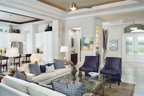 new florida model home transitional living room