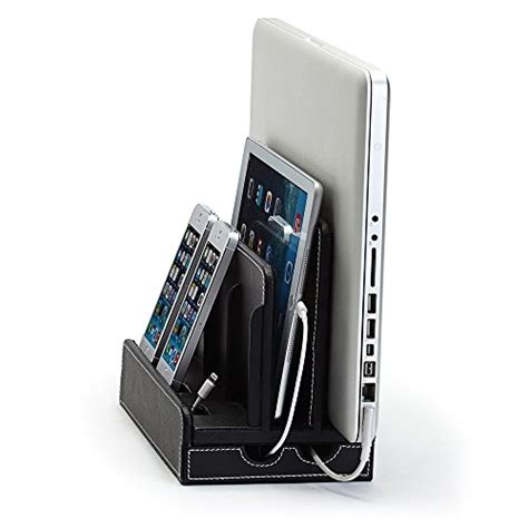 g u s silver leatherette multi device charging station g u s multi device charging station dock organizer