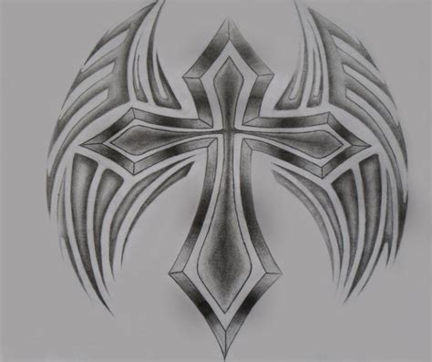 tribal cross tattoos with wings drawings of cross with tribal cross wing by