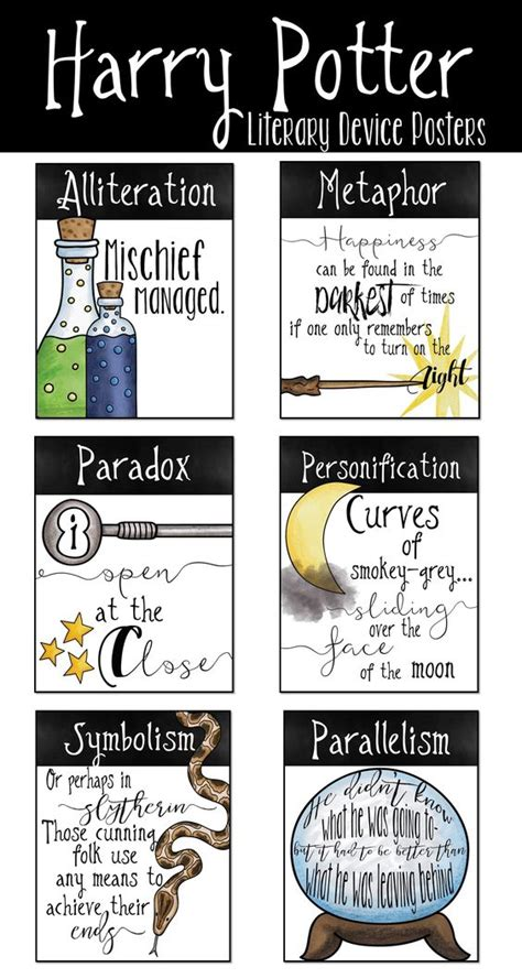 literary theme list middle school harry potter literary device posters language anchor