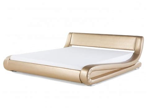 Cover Sofa Bed Ukrn 180 X 15 X 200 leather bed king size 180x200 cm with frame gold avignon beliani co uk