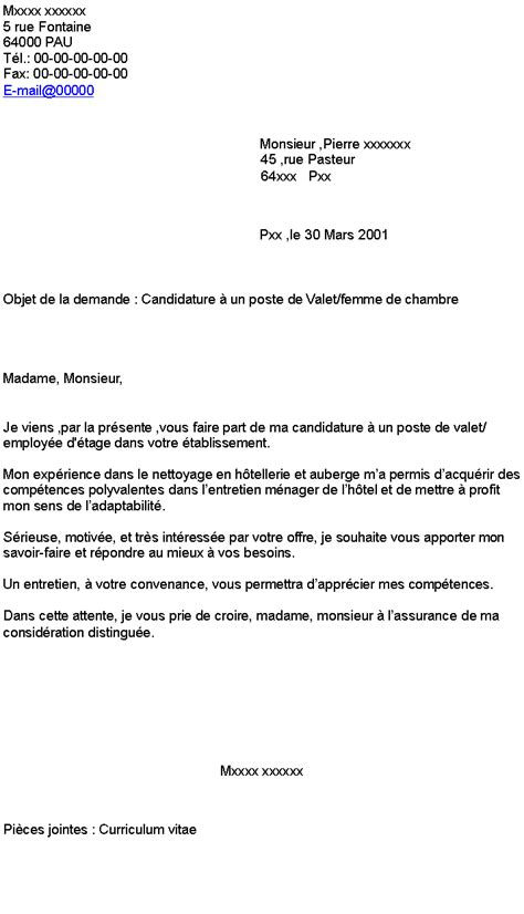 modele lettre de motivation femme de chambre lettre de motivation hotellerie candidature spontan 233 e