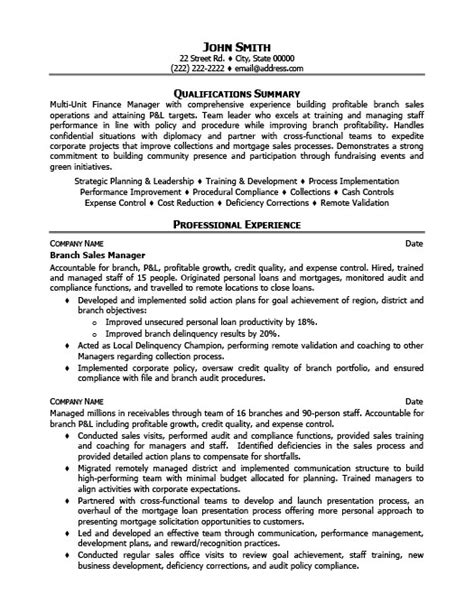 branch sales manager resume template premium resume sles exle