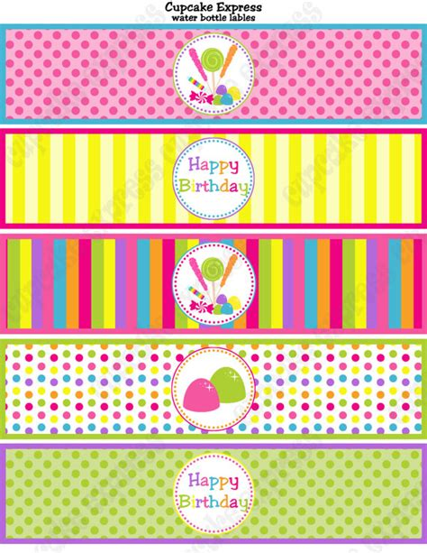 printable lollipop labels candy shoppe birthday party printable water bottle labels
