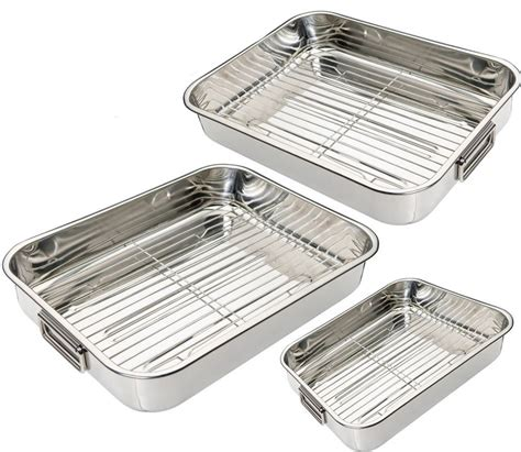 Oven Pan With Rack by Stainless Steel Roasting Trays Oven Pan Dish Baking