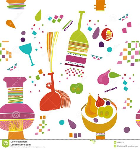 kitchen pattern kids kitchen pattern wallpaper stock illustration