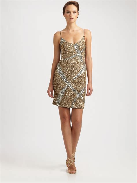 sequins and sunglasses slip on your sequin dress glare lyst theia sequin slip dress in metallic