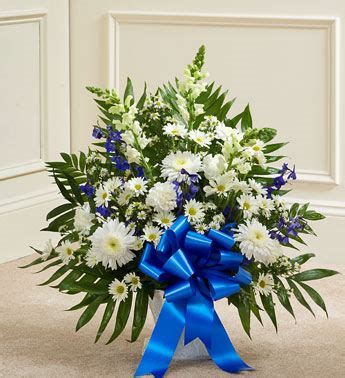Blue And White Sympathy Floor Basket by Thoughts And Prayers Arrangement Blooms Today