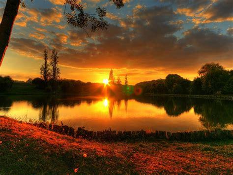 wallpaper sun decline lake evening patches  light
