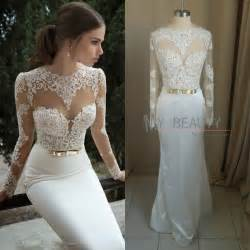 Vogue Wedding Dress Patterns Aliexpress Com Buy Charmming Sheer Back Party Dress 2014 New Arrival White Long Sleeves Short