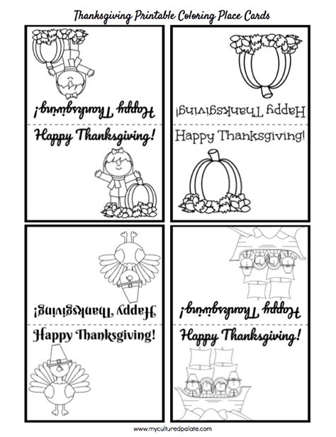 printable thanksgiving place cards to color free thanksgiving activity set bookmarks puzzles place