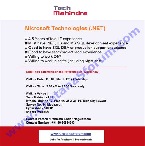 Offer Letters In Hyderabad Experienced Walk In Tech Mahindra Net Mega Recruitment Drive On 8 March 2014