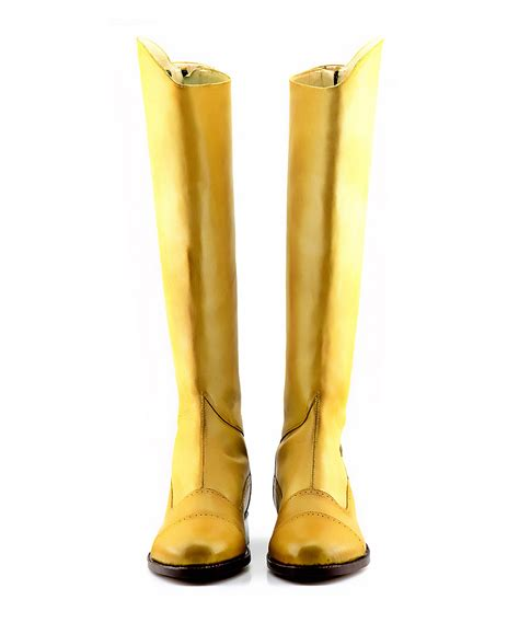 Handmade Boots Uk - handmade two tone pale yellow dressage