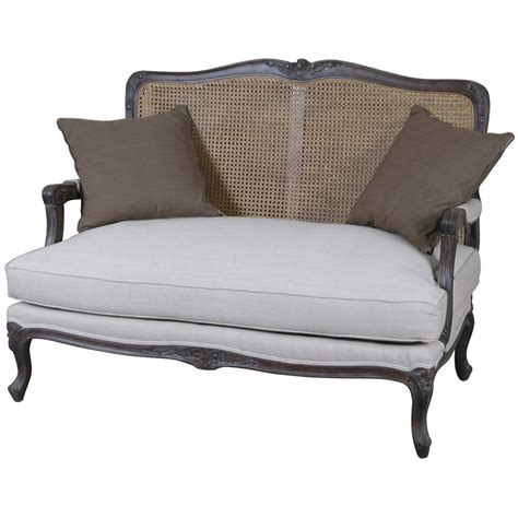 chair and couch louis french 2 seater sofa with rattan back french style