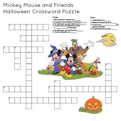 printable disney puzzle mickey friends printable halloween crossword disney family