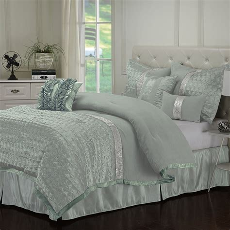 teal comforter set queen dannica 7 piece silver teal ruffled comforter bedding