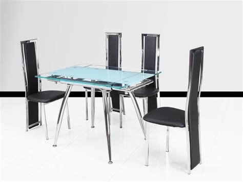 small clear and frosted extending glass dining table 4
