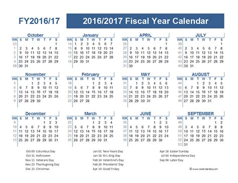 2016 fiscal calendar calendar template 2016