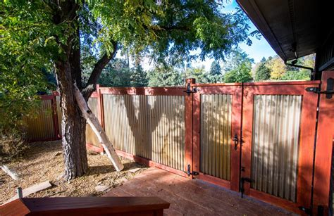 Idea For Wood Metal Mix Decorations by Wood And Metal Fence Ideas Deck Industrial With Corrugated