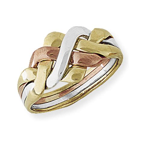 jewelco 9ct white and yellow gold four row