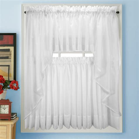 White Bathroom Window Curtains Elegance Voile White Sheer Tier Panels Bedbathhome