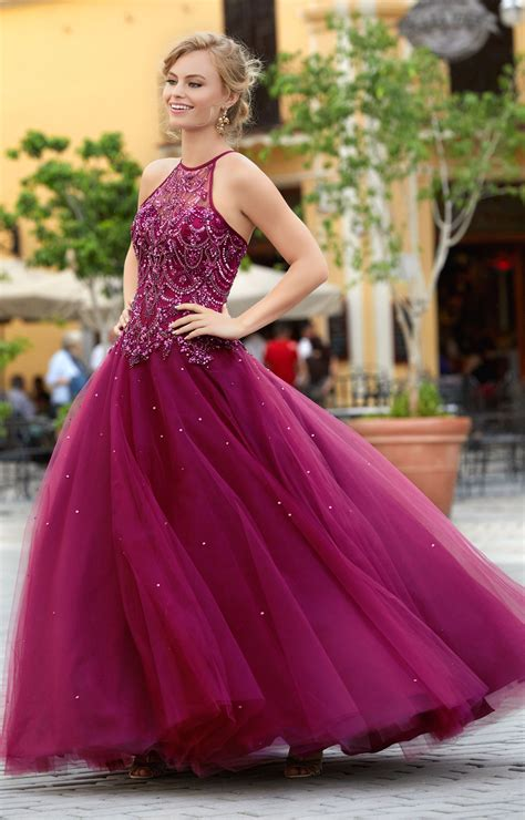 mori lee prom  beaded tulle ball gown prom dress