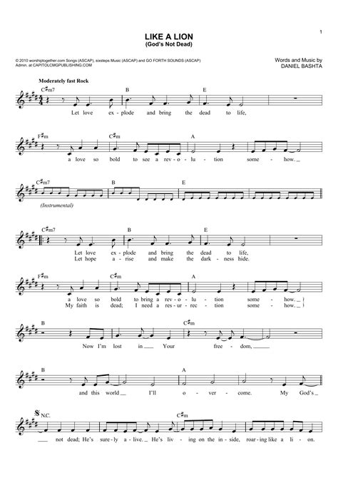 printable lyrics to god s not dead like a lion god s not dead sheet music direct