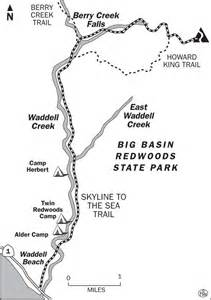 Big Basin Redwoods State Park Map by Skyline To Sea Trail Map