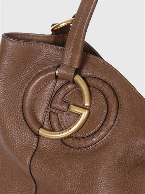 g ci leather brown gucci twill brown leather shoulder bag luxury bags
