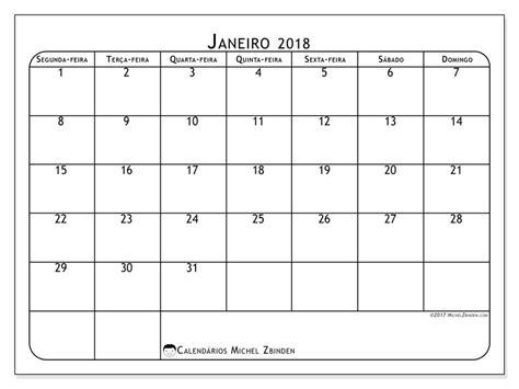Calendario 2018 Dias Uteis Livre Calend 225 Rios Para Janeiro 2018 Para Imprimir