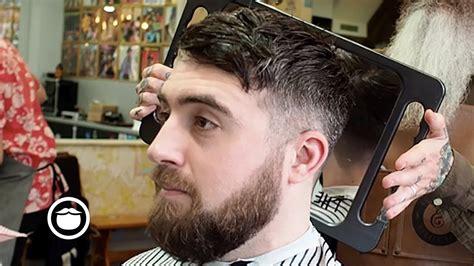 haircut beard youtube messy crop haircut with low cheek line beard trim youtube