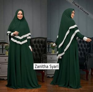 Gamis Muslim Syari Alda Hijau setelan baju gamis syari muslimah wanita modern kombinasi renda model terbaru