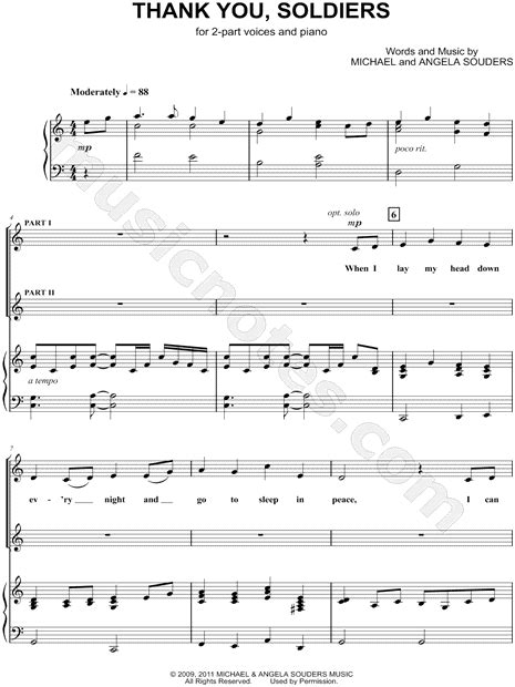 Thank You Note To Violin Michael Souders Quot Thank You Soldiers Quot 2 Part Choir Piano Choral Sheet In C Major