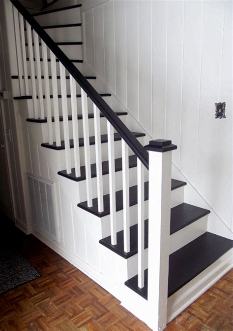 White Bathroom Remodel Ideas by Remodelaholic Black And White Painted Staircase