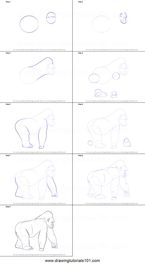 how to draw a doodle step by step how to draw a gorilla printable step by step drawing sheet