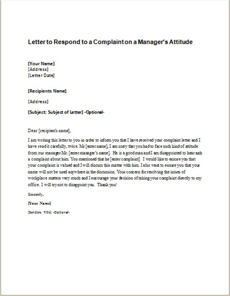 Complaint Letter On Manager letter to respond to a complaint on student s safety