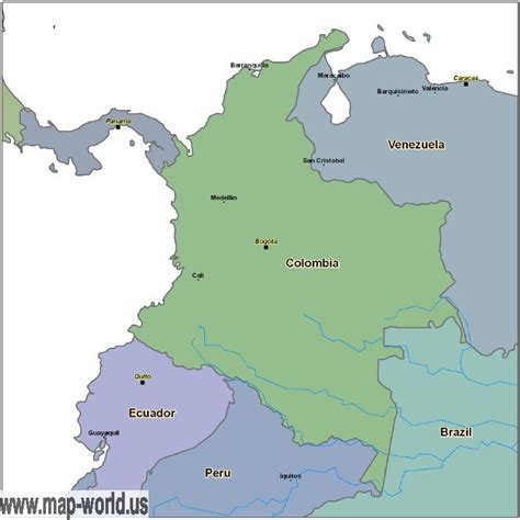 colombia map of the world map of colombia colombia map world map