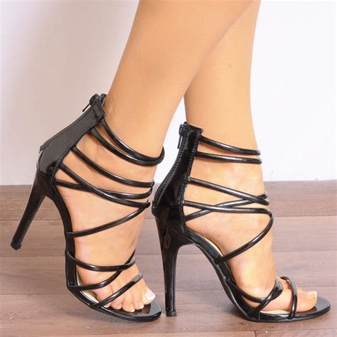 black high heel ankle sandals black patent ankle straps strappy sandals stilettos