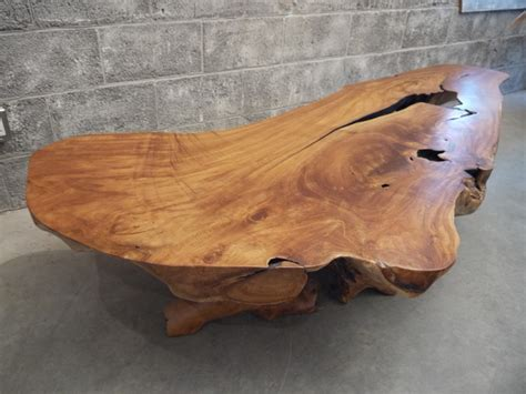 Live Edge Wood Coffee Table Teak Wood Live Edge Coffee Table Traditional Coffee Tables Montreal By Bois Design