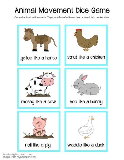 printable animal movement cards farm animal gross motor game printable from play learn