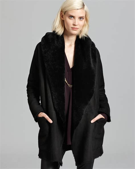 shearling drape coat vince coat shearling drape bloomingdale s