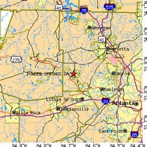 map of powder springs powder springs ga