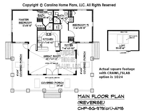 reverse floor plan small stone craftsman bungalow house plan chp sg 979 ams