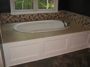 master bathroom built in bath tub wood tile enclosure