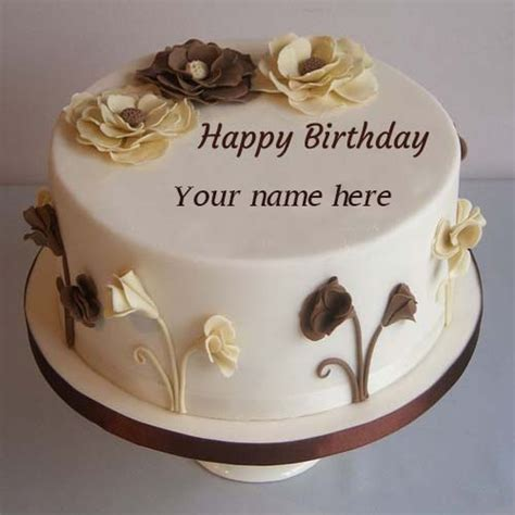 Wedding Wishes With Name Edit by Flower Decorated Happy Birthday Cake Pics Name Edit